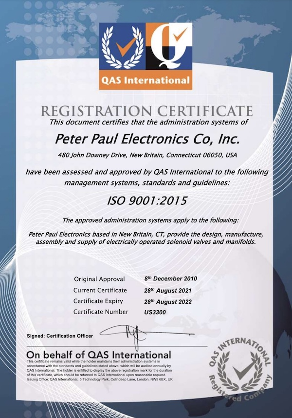 ISO 9001 Certification Registration Certificate